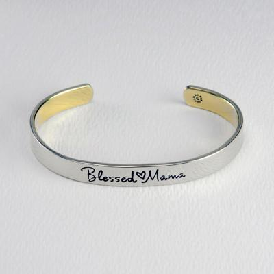 Blessed Mama Mixed Metal Cuff Bracelet